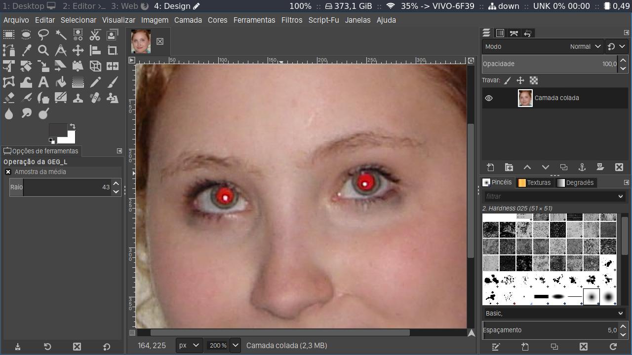 Remover olhos vermelhos no Gimp