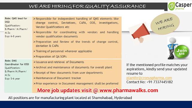 Casper Pharma urgent hiring for Quality Assurance department | Apply Now