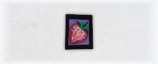Strawberry Slice Bead and Fiber Fine Art Tapestry by Jen Ten Art