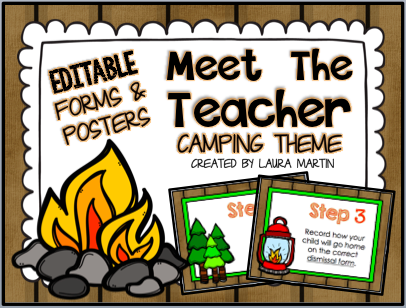 Camping Back to School ideas for Meet the Teacher and Open House