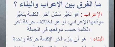 درس الإعراب والبناء لغة عربية فصل أول صف سادس 1442