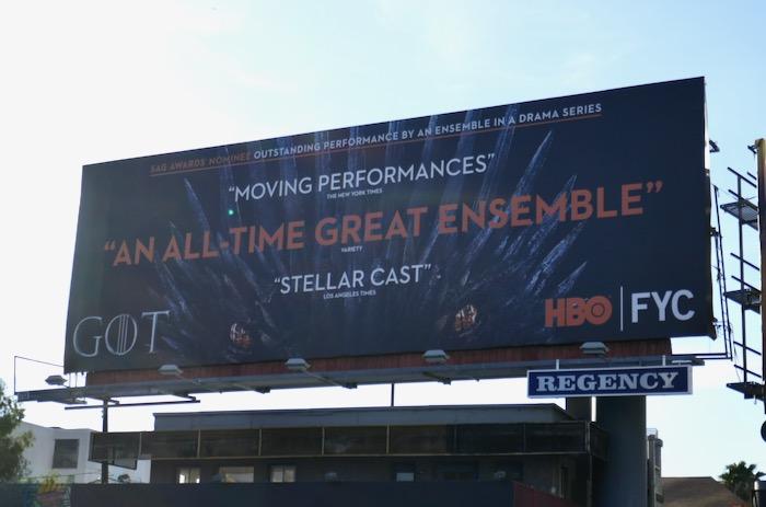 Game of Thrones SAG Award Ensemble nominee billboard