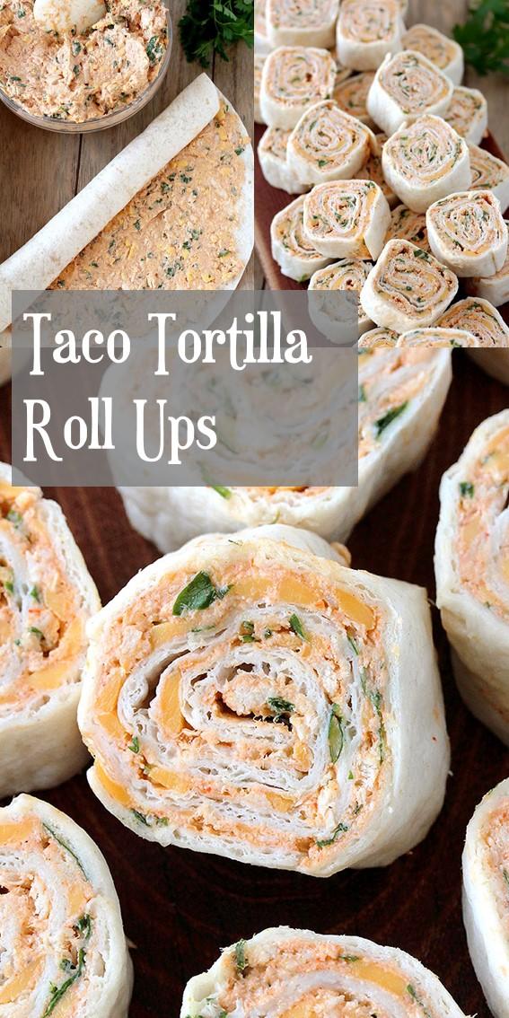 TACO TORTILLA ROLL UPS #Taco #Tortilla #Rolls #Chicken #Cheese #Holiday