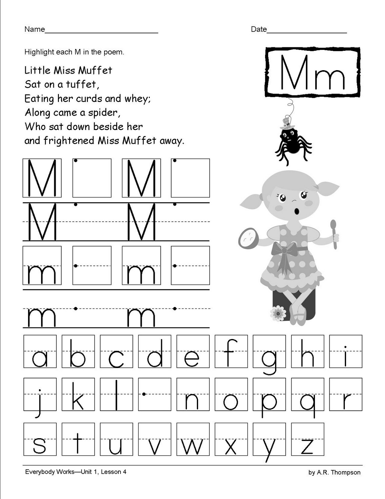 The 2nd Grade Chick The Letter Mm Little Miss Muffet The Free Printable