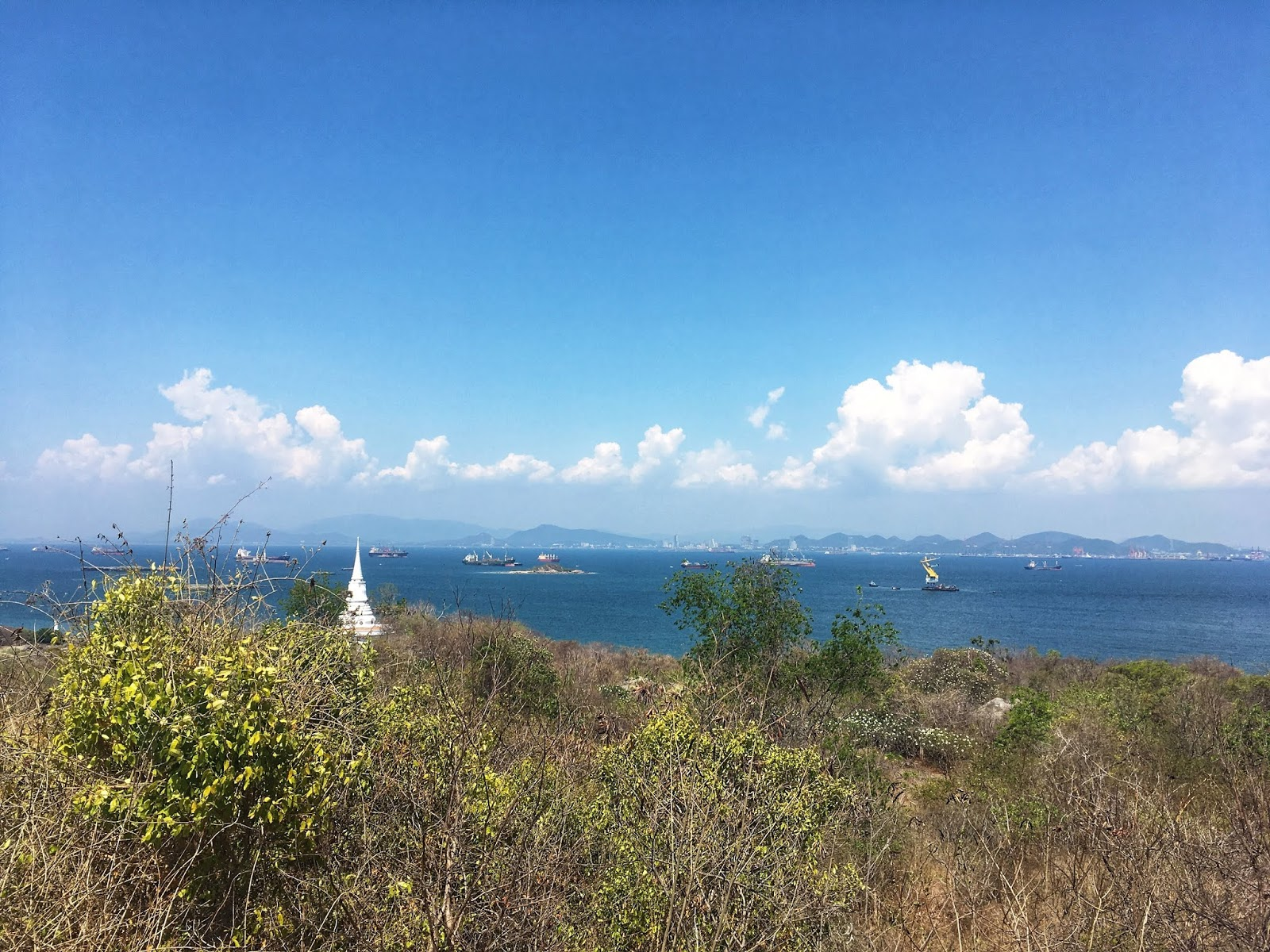 the viewpoint on Koh Sichang, Thailand with views of the sea and boats