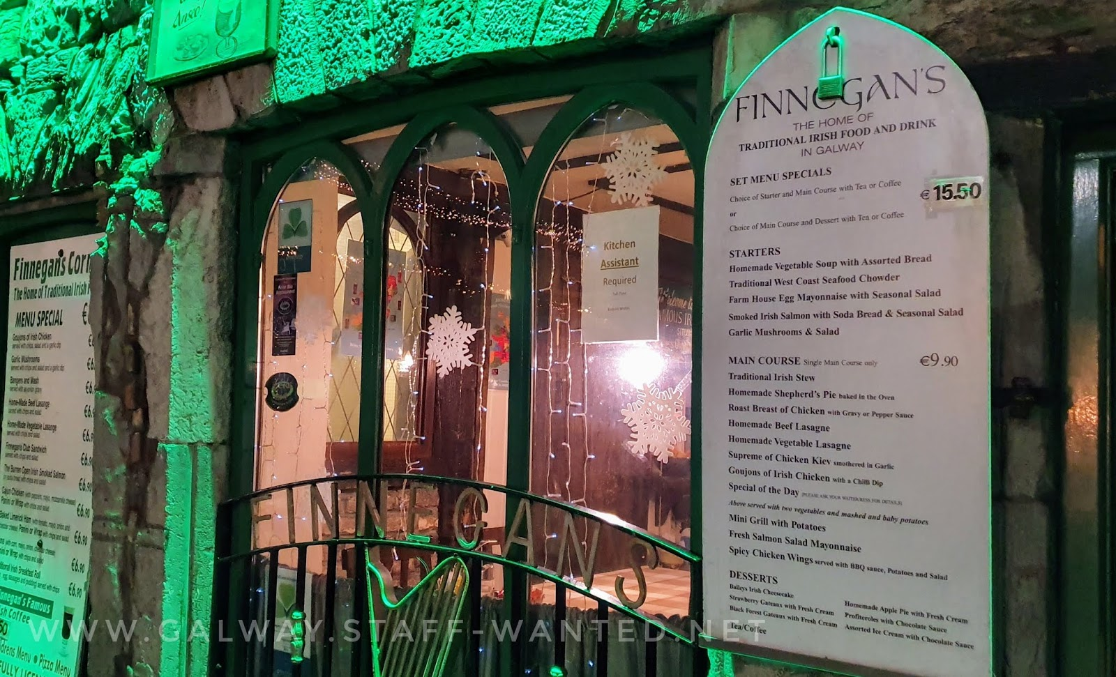 front window includes kitchen staff job add and you can see the detailed finnegans restaurant menu