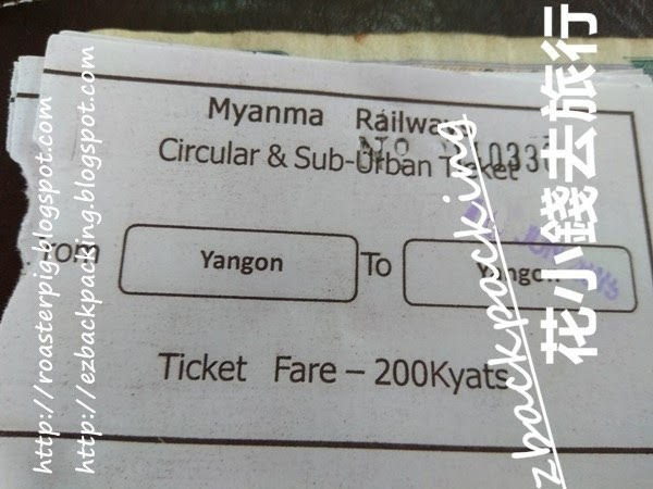 仰光環城小火車車票