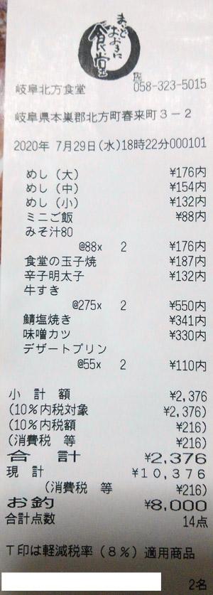 まいどおおきに食堂 岐阜北方食堂 2020/7/29 飲食のレシート