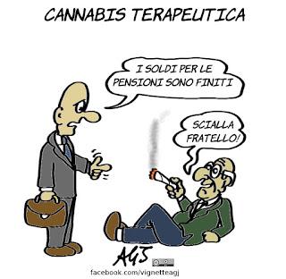 cannabis, medicina, salute, droga, pensioni, vignetta, satira