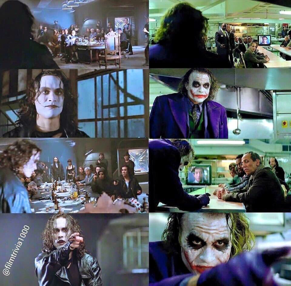 Comparing shots from two memorable scenes from THE CROW and THE DARK KNIGHT, respectively.