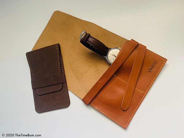 Vario leather watch roll and pouch