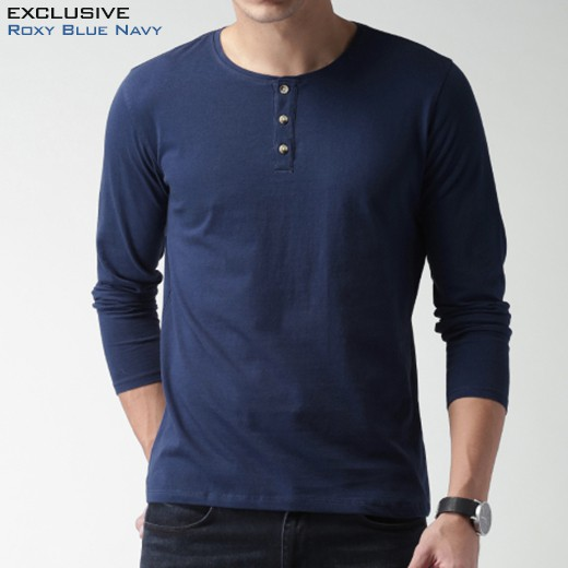Kaos Kancing Pria Lengan Panjang Henley Roxy Blue Navy