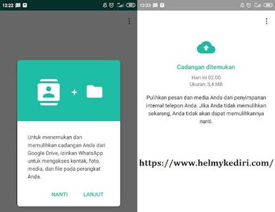 Cara restore chat whatsapp dari Googledrive