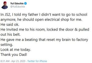 Nollywood star actor, Yul Edochie, son of the legendary Nollywood veteran, Pete Edochie has taken back to memory lane to recall an interesting scenario that occurred between him and his father while growing up.