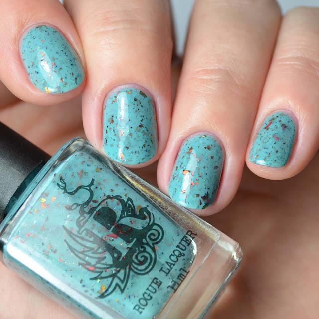 turquoise flakie nail polish