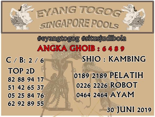 PREDIKSI TOGEL SINGAPORE POOLS 30 JUNI 2019