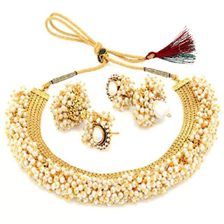 YouBella Jewellery Exclusive Gold Plated Pearl Studded Traditional Temple Necklace Set for Women Jewellery Set with Earrings for Girls and Women