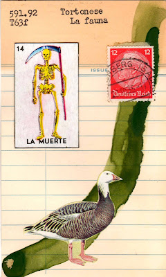 mexican lottery card memento mori la muerte death skeleton postage stamp goose library card Dada Fluxus mail art collage