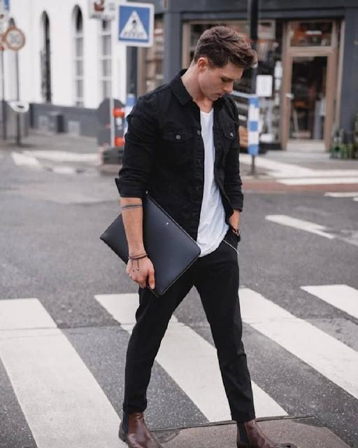 cách phối đồ với áo khoác jean nam rộng màu đen