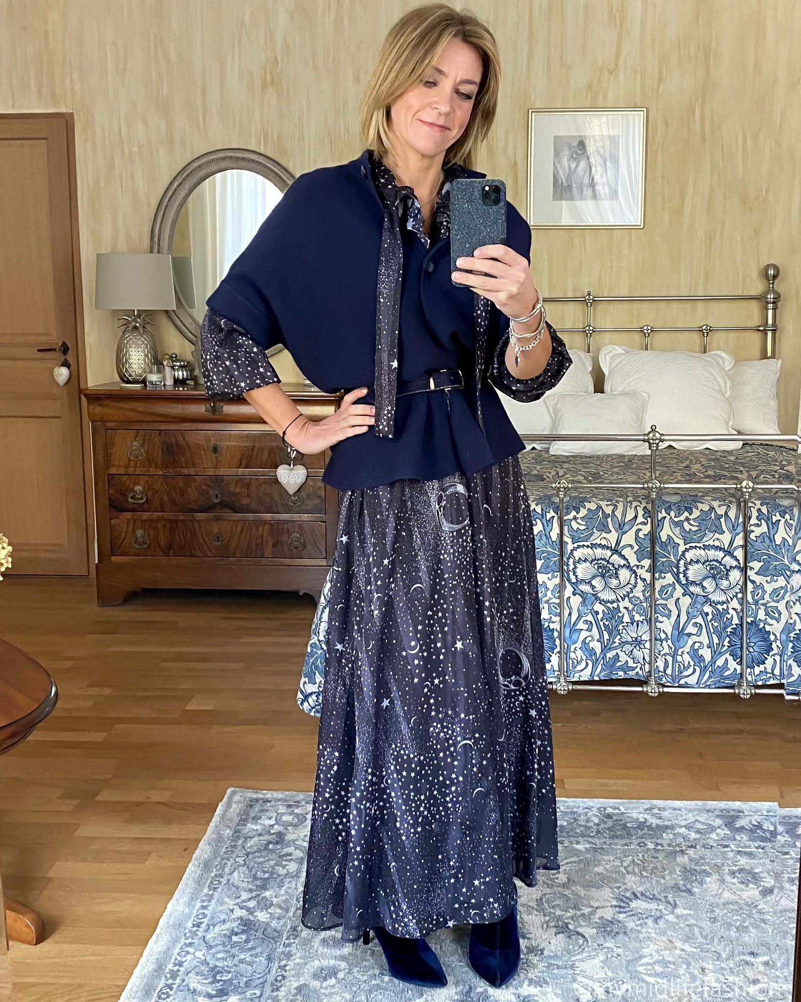 my midlife fashion, lily and Lionel maxi dress, pink avocet Bergamo jacket, j crew pony skin belt, marks and Spencer velvet stiletto heel ankle boots