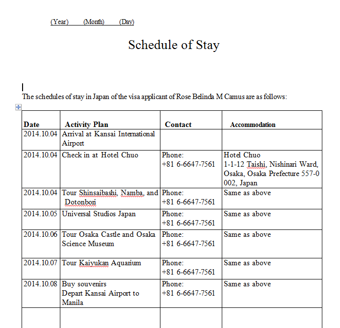 scheduleofstay Japanese Pport Application Form on