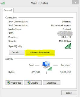 "Kemudian Properties dari Jaringan Terhubung Akan Muncul, Sekarang pilih ""Wireless Properties"""