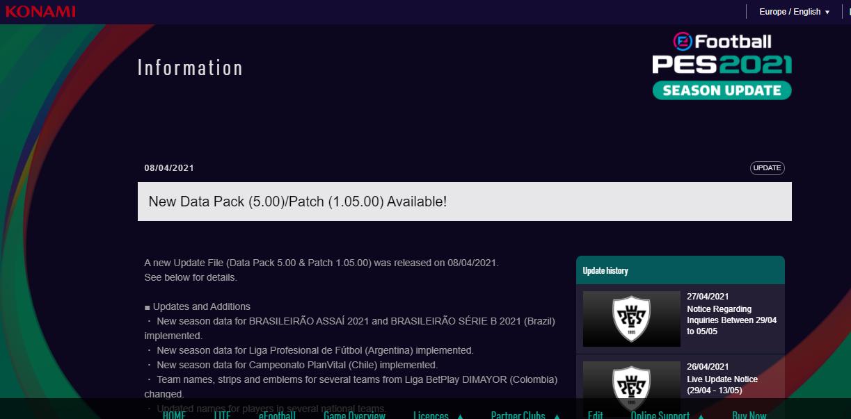 Efootball PES 2021 Data Pack 5.0 + Version 1.05
