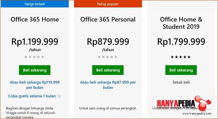 Pilih versi office 365