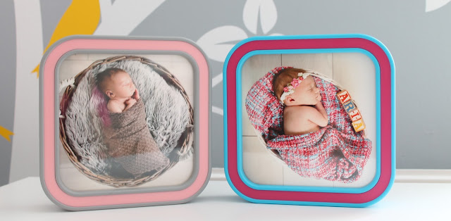 Two pictures from newborn photo shoot in frames from Frame Again