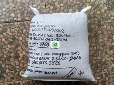 Benih padi yang dibeli   SUGENG HARIYANTO Ponorogo, Jatim.  (Setelah packing karung ).
