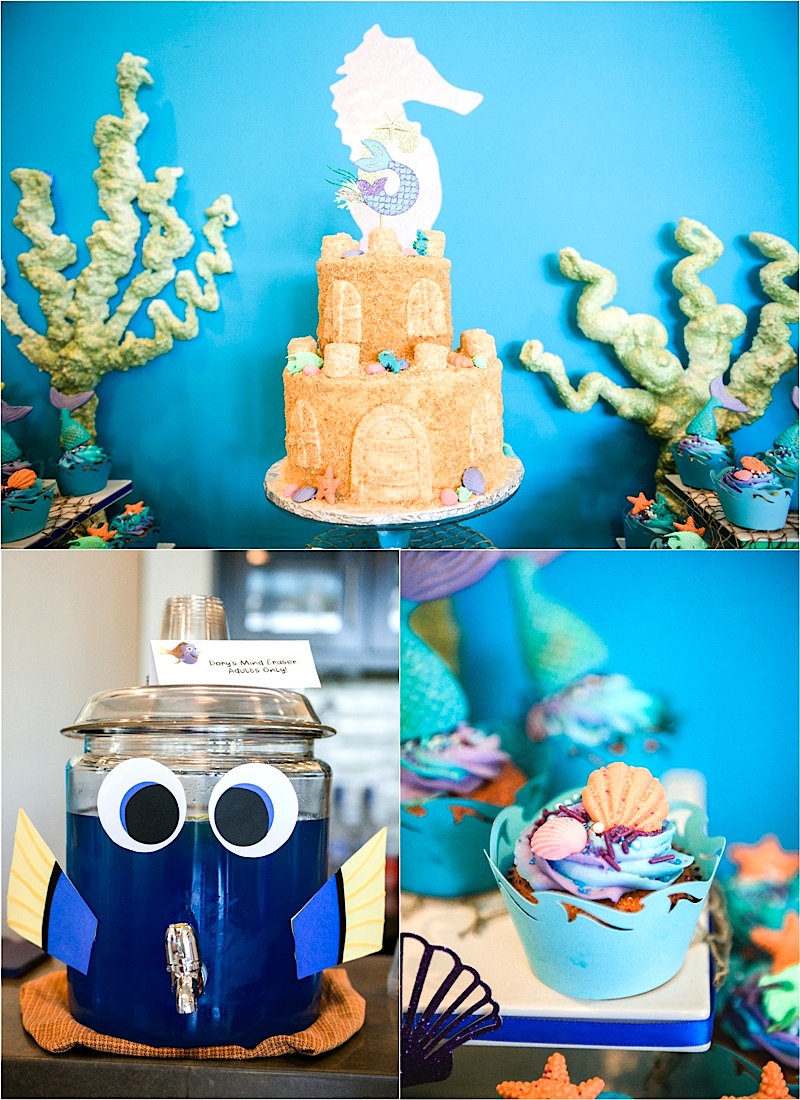 Une Fête d'Anniversaire Sous l'Océan - cette fête regorge d'incroyables détails DIY , d'idées de plats, décorations de table, sweet table et de cadeaux! via BirdsParty.com @birdsparty #doty #nemo #souslocean #sireneparty #anniversairesirene