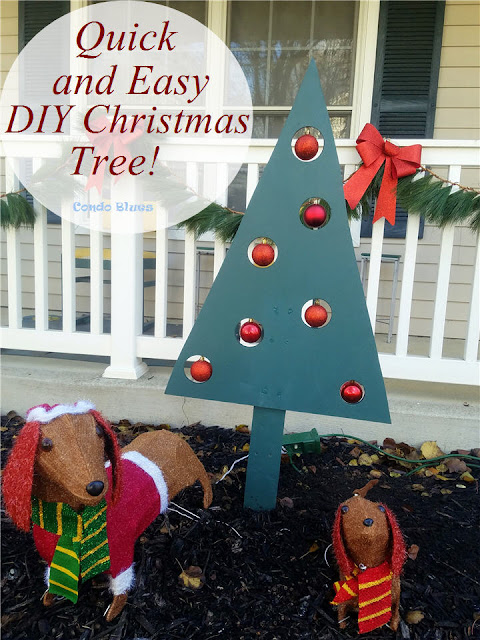 quick and easy diy outdoor Christmas tree decor with ornament windows