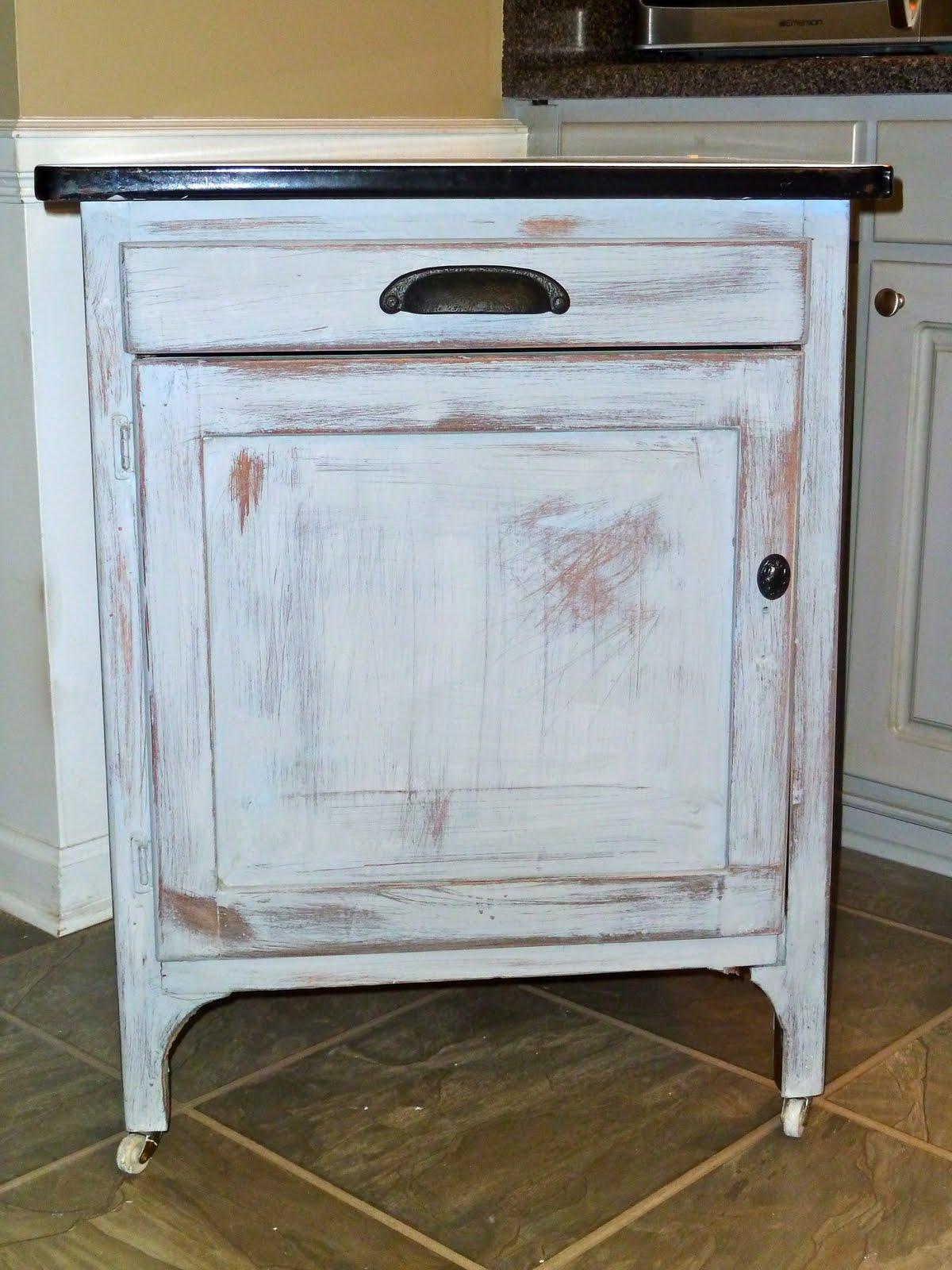 A Few Good Pieces Vintage Enamel Topped Cabinet
