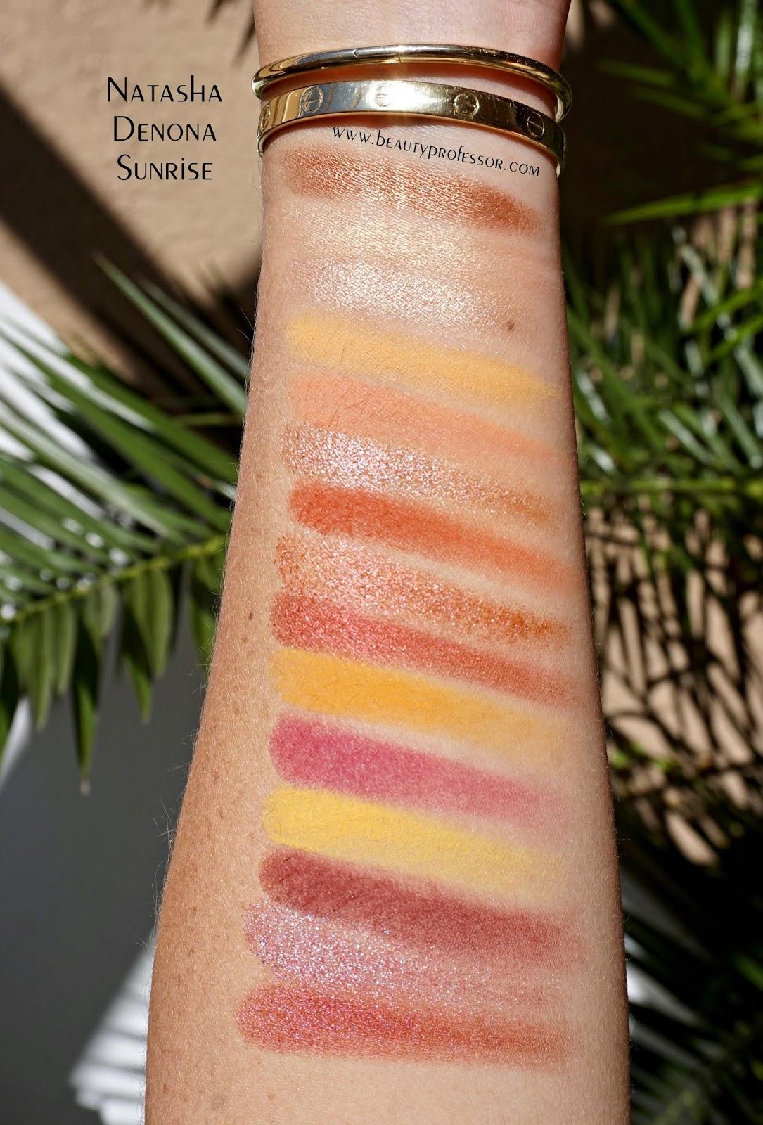 Natasha denona sunrise palette swatches