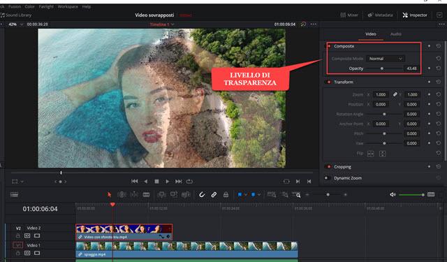 impostare la trasparenza del video sovrastante