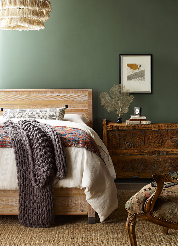 boho bedroom painted with Sherwin Williams Rosemary