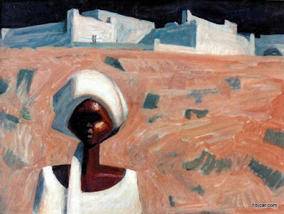 A Nubian Egyptian and his village as depicted by Egypt's famous painter Hussein Bicar during the construction of the High Dam in 1960s