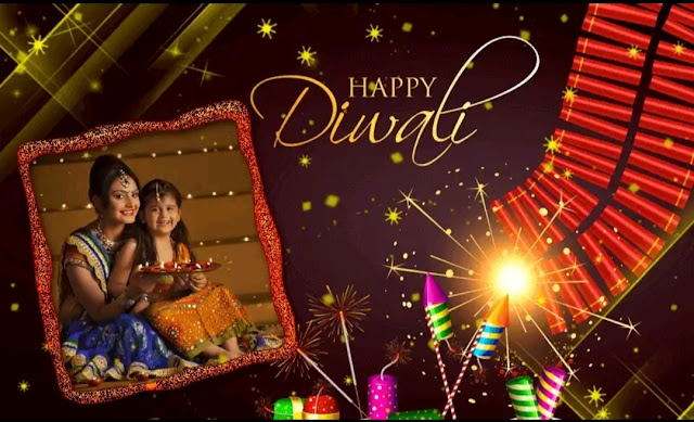 Create Diwali Fotos with your Photograph, create your own Diwali card.