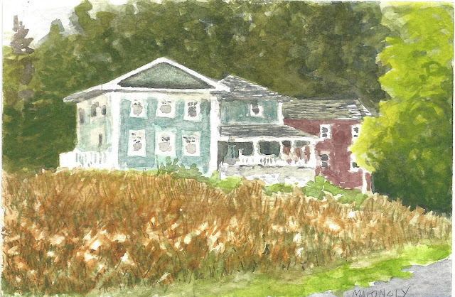 Watercolor of house with curved veranda in a field of grass, trees in background
