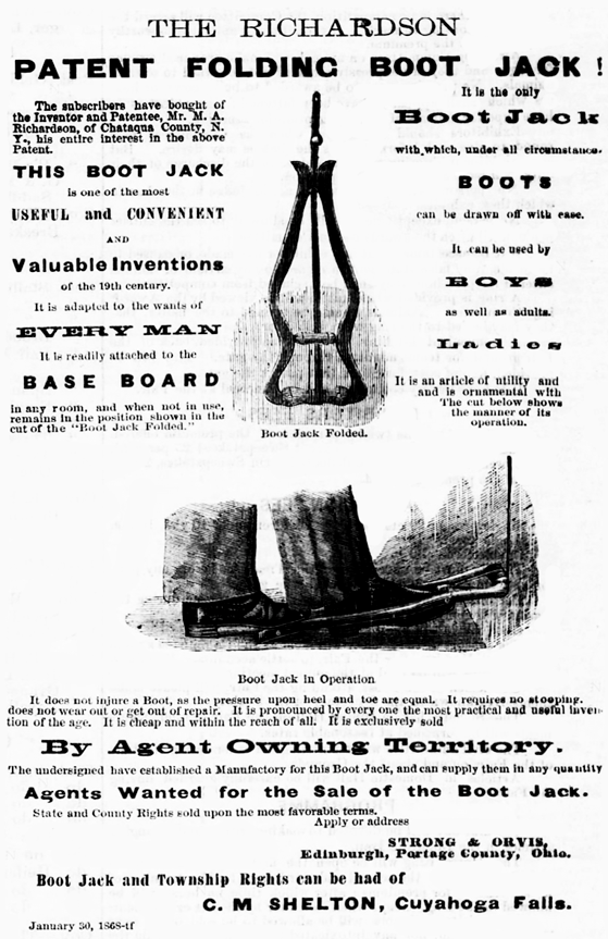 Kristin Holt | Victorian-America's Boot Jacks. The Richardson Patent Folding Boot Jack, illustrated advertisement in The Summit County Beacon of Akron, Ohio on June 11, 1868.