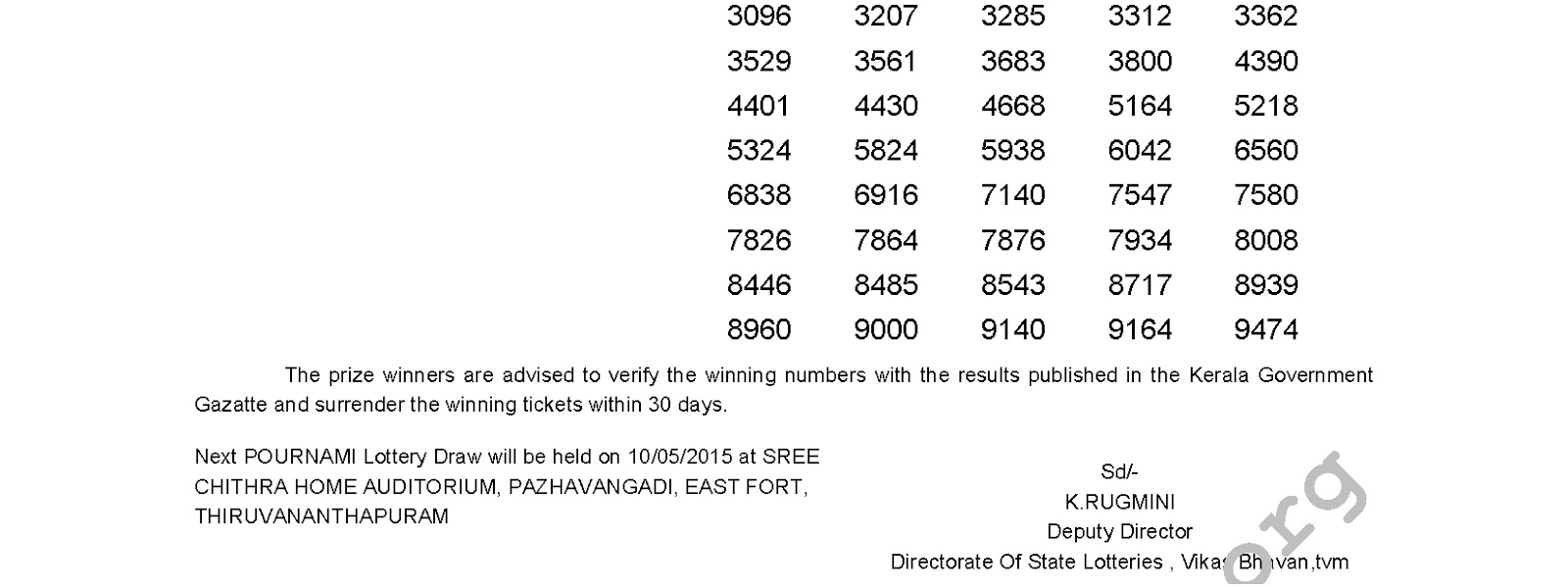 POURNAMI Lottery RN 183 Result 3-5-2015