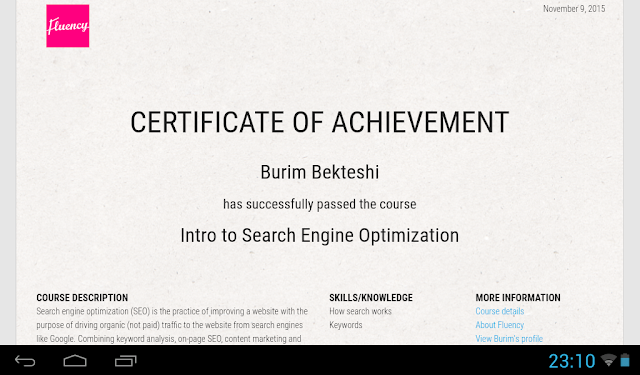 Fluency SEO Certificate of Burim Bekteshi- Burim Bekteshi