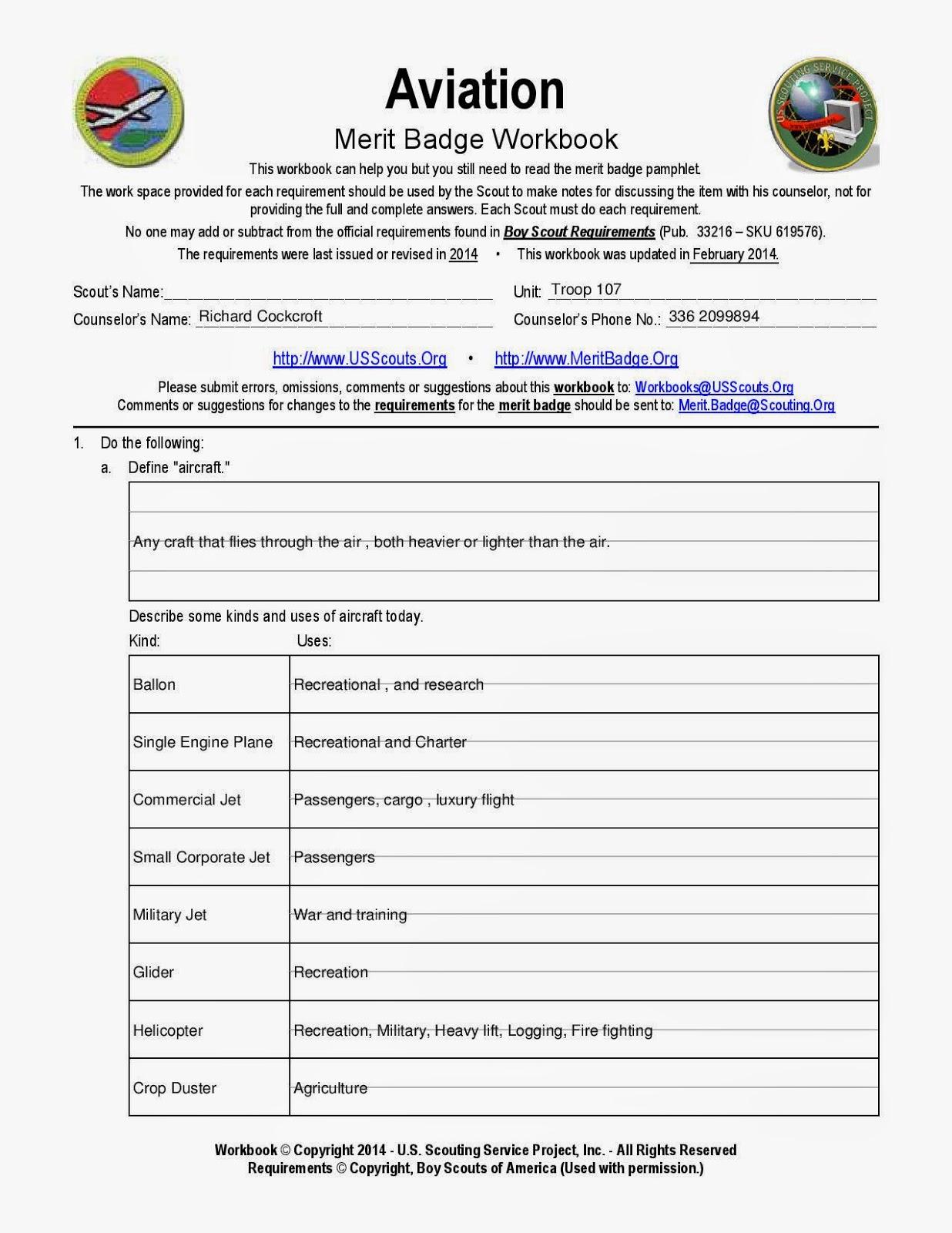 Boy Scout Troop 107 Greensboro NC: Aviation Merit Badge ...