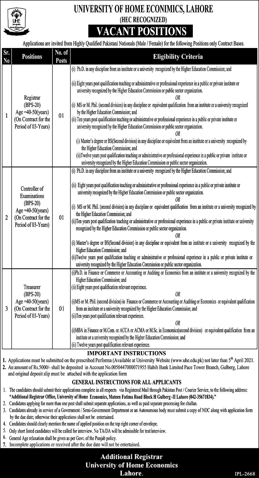 Latest Jobs in University of Home Economics UHE Lahore 2021
