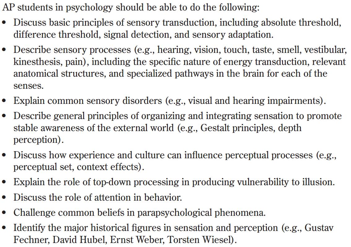 Ap Psychology With Mr Duez 3 1 Sensn Amp Prcptn