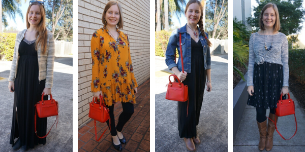 wearing a red bag as a pop of colour with your outfit | away from blue