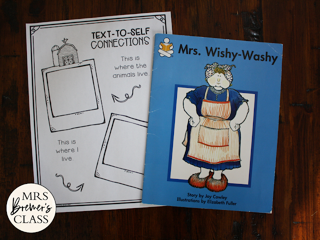 Mrs Wishy Washy book study activities unit with Common Core aligned literacy companion activities and a class book for Kindergarten and First Grade