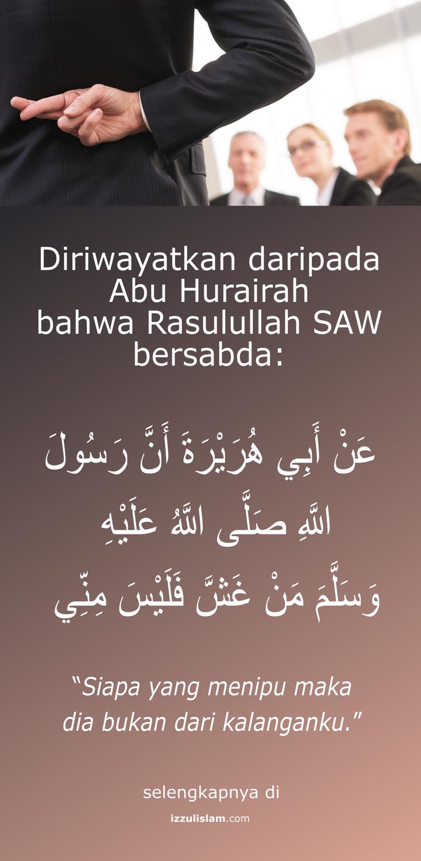 hadist nabi Muhammad SAW - siapa yang menipu bukan kalangan ku