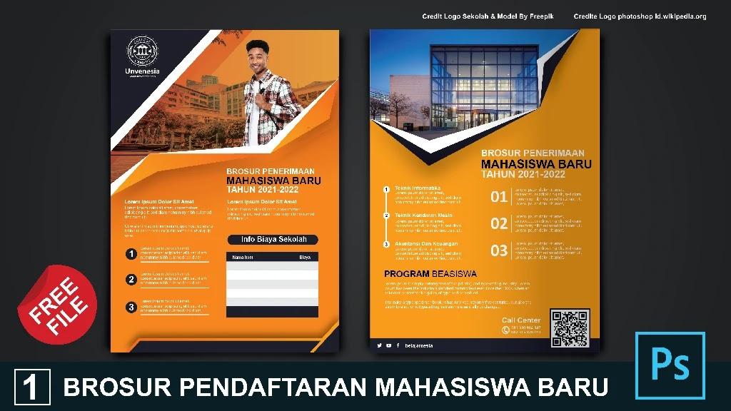 Download Brosur Pedaftaran Mahasiswa Baru Keren Photoshop