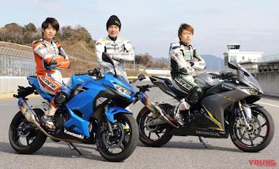 CBR250RR vs New Ninja 250 di Sirkuit